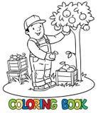 Funy农夫或花匠用苹果 书五颜六色的彩图例证 库存例证