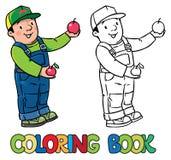 Funy农夫或花匠用苹果 书五颜六色的彩图例证 向量例证