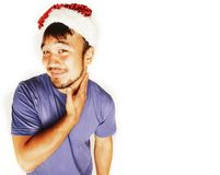 Funy εξωτικός ασιατικός Άγιος Βασίλης στο νέο χαμόγελο καπέλων ετών κόκκινο στοκ φωτογραφία με δικαίωμα ελεύθερης χρήσης