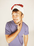 Funy εξωτικός ασιατικός Άγιος Βασίλης στο νέο κόκκινο ετών στοκ εικόνα
