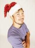 Funy εξωτικός ασιατικός Άγιος Βασίλης στο νέο κόκκινο ετών στοκ φωτογραφίες