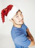 Funy εξωτικός ασιατικός Άγιος Βασίλης στο νέο χαμόγελο καπέλων ετών κόκκινο στοκ εικόνες με δικαίωμα ελεύθερης χρήσης