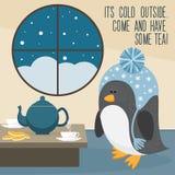 Funy cartoon penguin at home. Stock Image