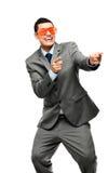 Funy crazy man face businessman Stock Photos