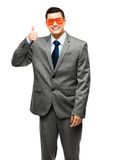 Funy crazy man face businessman Stock Photography