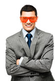 Funy crazy man face businessman Stock Photos