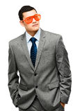 Funy crazy man face businessman Royalty Free Stock Image