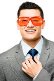 Funy crazy man face businessman Stock Photo