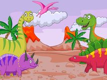 Funy Dinosaur cartoon Stock Image