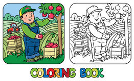 Funy farmer or gardener with apples. Coloring book Stock Photography