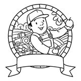 Funy farmer or gardener. Coloring book. Emblem Stock Photography