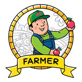 Funy farmer or gardener. Profession ABC series Royalty Free Stock Photography
