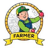 Funy farmer or gardener. Profession ABC series vector illustration