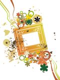 Funy floral color frame Stock Images