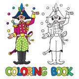 Funy general-juggler. Coloring book Royalty Free Stock Photos