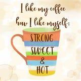 Funy-Kaffeezitat mit schönem Aquarell caffee Becher Lizenzfreie Stockfotos