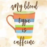 Funy-Kaffeezitat mit schönem Aquarell caffee Becher Lizenzfreie Stockfotografie