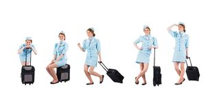 Funy stewardess collection Royalty Free Stock Photos