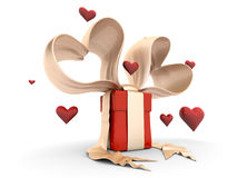 Funy valentine gift box with hearts Royalty Free Stock Image