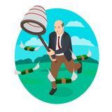 Funzionamenti dell'uomo d'affari attraverso il campo ed i soldi dei fermi royalty illustrazione gratis