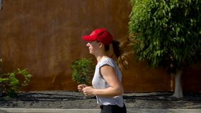 Funzionamenti della donna giù la via fra le palme Stile di vita attivo sano Movimento lento video d archivio