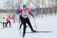 Funzionamento abbastanza giovane della sportiva sugli sci nella foresta di inverno Fotografia Stock Libera da Diritti