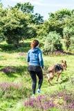 Funzionamento adatto della giovane donna con il cane fotografie stock