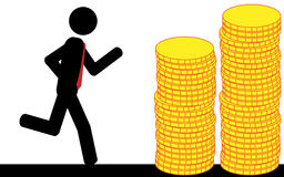 Funzionamento alle monete di oro Immagini Stock Libere da Diritti