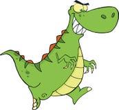 Funzionamento arrabbiato del carattere del dinosauro verde Fotografia Stock Libera da Diritti