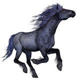 Funzionamento blu nero del cavallo - 3D rendono royalty illustrazione gratis