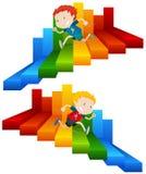 Funzionamento del bambino alla scala Colourful illustrazione di stock