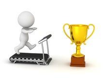funzionamento del carattere 3D sulla pedana mobile verso il trofeo dorato Fotografia Stock Libera da Diritti