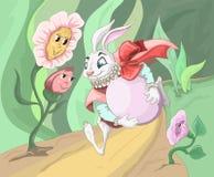 Funzionamento del coniglietto di pasqua con l'uovo Fotografia Stock