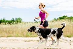 Funzionamento del corridore della donna, cane ambulante in natura di estate Immagine Stock