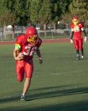 Funzionamento del giocatore di football americano con la palla Immagine Stock