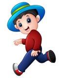 Funzionamento del ragazzo del fumetto che porta un cappello illustrazione di stock