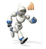 Funzionamento del robot mentre comunicando Fotografie Stock