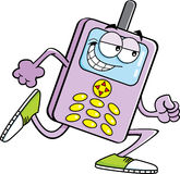 Funzionamento del telefono cellulare del fumetto Immagine Stock