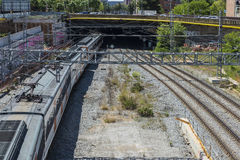 Funzionamento del treno a Barcellona Fotografia Stock