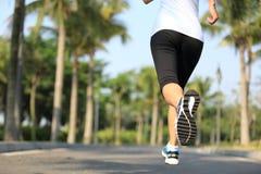 Funzionamento dell'atleta del corridore al parco tropicale Immagini Stock Libere da Diritti