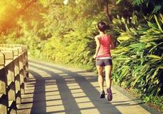 Funzionamento dell'atleta del corridore alla traccia del parco Fotografie Stock