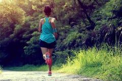Funzionamento dell'atleta del corridore sulla traccia della foresta Fotografie Stock Libere da Diritti