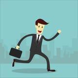 Funzionamento dell'uomo d'affari con il fondo della città Immagini Stock