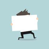 Funzionamento dell'uomo d'affari con il segno bianco illustrazione vettoriale