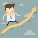 Funzionamento dell'uomo d'affari su un grafico royalty illustrazione gratis