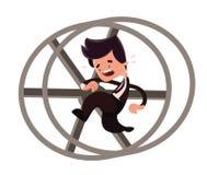 Funzionamento dell'uomo d'affari in un personaggio dei cartoni animati dell'illustrazione del ciclo Immagini Stock Libere da Diritti