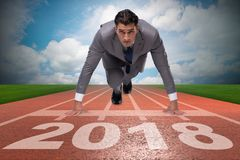Funzionamento dell'uomo d'affari verso il nuovo anno 2018 Immagini Stock Libere da Diritti
