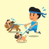 Funzionamento dell'uomo del fumetto con i suoi cani Immagini Stock Libere da Diritti
