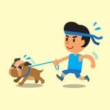 Funzionamento dell'uomo del fumetto con il suo bulldog Fotografia Stock Libera da Diritti