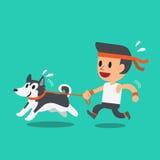 Funzionamento dell'uomo del fumetto con il suo cane del husky siberiano Immagini Stock Libere da Diritti